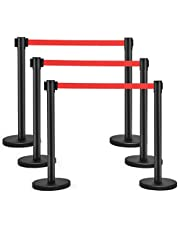"""Goplus 6Pcs Stanchion Posts, Crowd Control Barriers with 6.5' Retractable Belt, Stainless Steel Stanchion Posts Queue Line Pole, 35"""" Height, Easy Connect Assembly (Red)"""