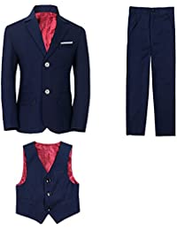 Boy's Tuxedos Toddler Formal Suits Set Kids Blue Black Slim Fit Suit Weddings