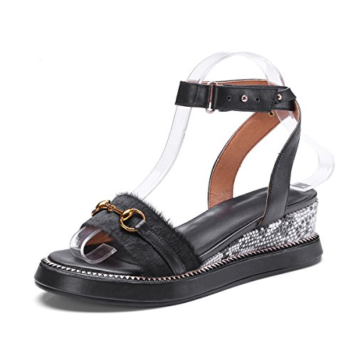Sandaler Toe Mei Hæl Kvinder S Sorte Peep Chunky I4IHaqXw