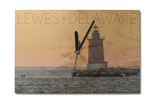 Lantern Press Lewes, Delaware - Cape Henlopen Lighthouse Sunset (10x15 Wood Wall Clock, Decor Ready to Hang)