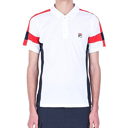 - Fila Men's Prago Polo Shirt, White, Peacoat, Chinese Red, XL