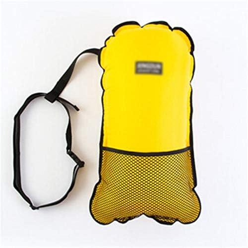 ネットポケットとホイッスルスイミング安全フロート、オレンジ/パープル、イエローと一緒に泳ぐブイ、大人のための大人、フローテーションデバイス用の浮遊デバイス、 (Color : Yellow)