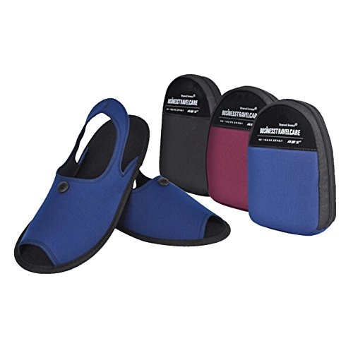 Generic Unisex 2-in-1 Portable Non-slip Slippers Foldable Slippers Travel Slippers Sandals for Men Women with Folding Shoe Storage Bag Ideal for Traveling and Business Trip Blue jPs2d