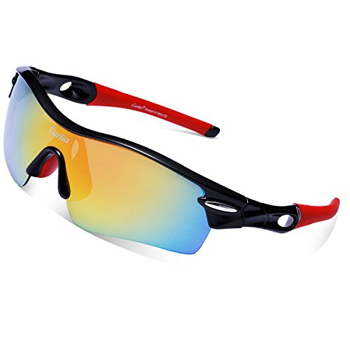Cycling Sunglasses-Carfia TR90 Sports Sunglasses UV400 Protection Goggles Polarized Sunglasses with 5 Interchangeable Lenses for Ski Running Cycling Fishing - For Sunglasses Jogging