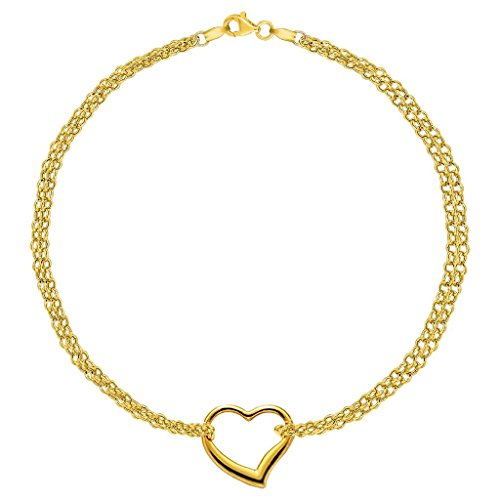 10K Yellow Gold Double Strand With Heart Anklet, 10