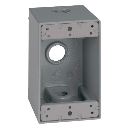Sigma Electric 14255 1/2-Inch 3 Hole 1-Gang Deep Box, Grey