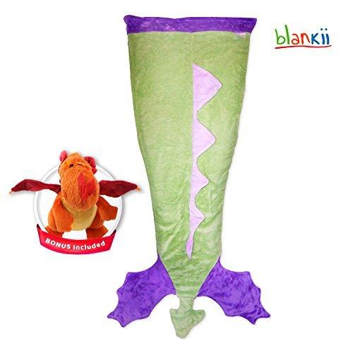 Blankii Minky Fleece Fabric Mermaid Dragon Tail Blanket With