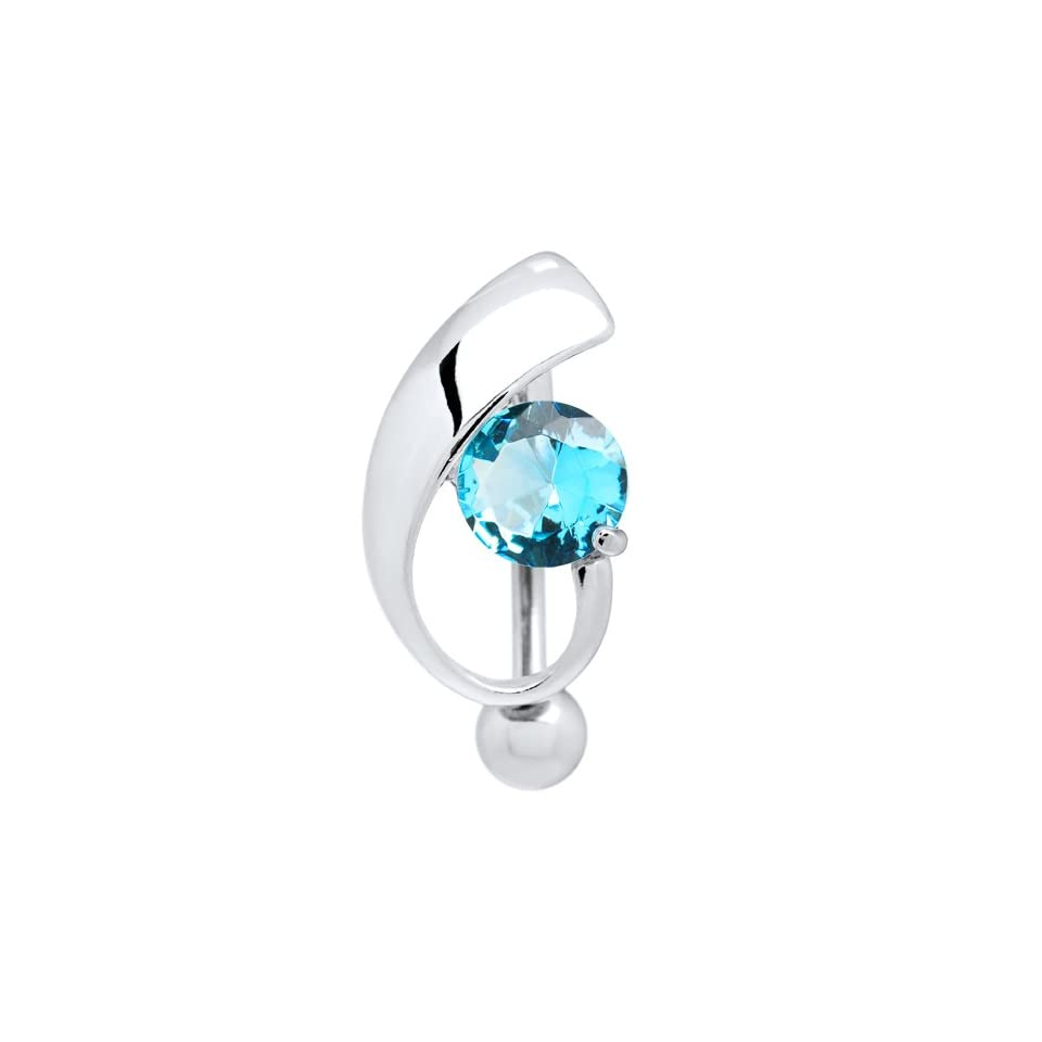 Top Mount Blue Cubic Zirconia Stunner Belly Ring