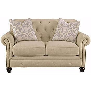 Ashley Furniture Signature Design   Kieran Traditional Upholstered Loveseat    Natural Tan