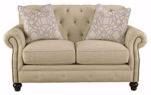 Ashley Furniture Signature Design - Kieran Traditional Upholstered Loveseat - Natural Tan