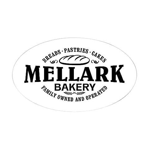CafePress - Mellark Bakery [B/W] Sticker (Oval) - Oval Bumper Sticker, Euro Oval Car Decal (The Hunger Games Laptop Decal)