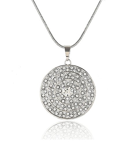 MOLOCH Long Pendant Necklace For Women Girls Charm Cubic Zirconia Disk Circle Necklaces Statement Jewelry necklace(silver)