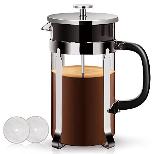 Outstanding French Press – (1 liter, 34 oz) 304 Stainless Steel Coffee Press, FDA Appraved. Food Grade Frame and Lid, Borosilicate Glass, Coffee Maker Tea Maker, Professional Grade Screen Heatable.
