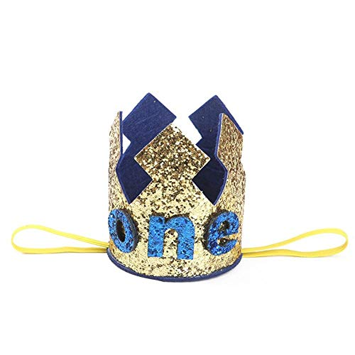Party Hats - Blue Gold Boy First Birthday Hat Glitter Princess Crown Number 1st 2 3 Year Old Party Baby Shower - Candy Black Sombrero Plain Teacher Little Metallic Toddler Colorful Unicorn H]()