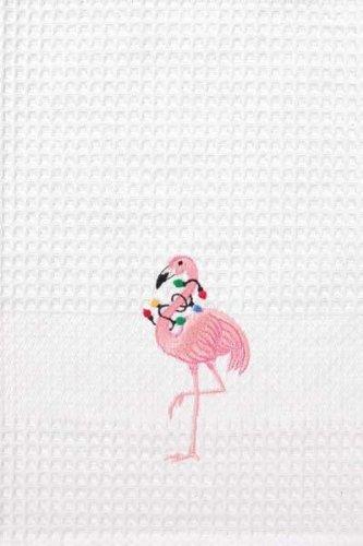 tropical pink flamingo christmas lights embroidered waffle weave kitchen towel - Flamingo Christmas