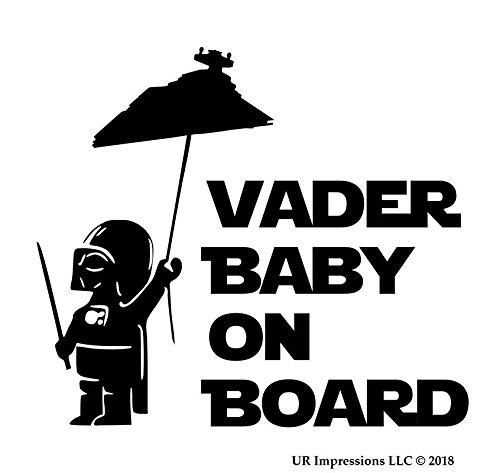 UR Impressions Blk Imperial Star Destroyer - Vader Baby On Board Decal Vinyl Sticker Graphics Car Truck SUV Van Wall Window Laptop|Black|5.5 X 5 Inch|URI511 ()