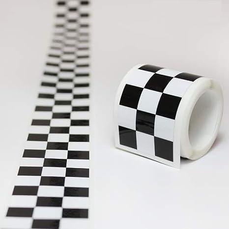 Cinta adhesiva con cuadros blancos y negros, de carreras, de 30 mm de ancho y 2 metros de longitud: Amazon.es: Coche y moto