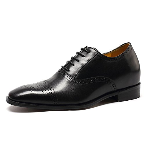 CHAMARIPA Height Increasing Elevator Shoes 2.76'' Taller Men Wingtip Oxford Dress Shoes K6531-1 (10 D(M),Black) by CHAMARIPA