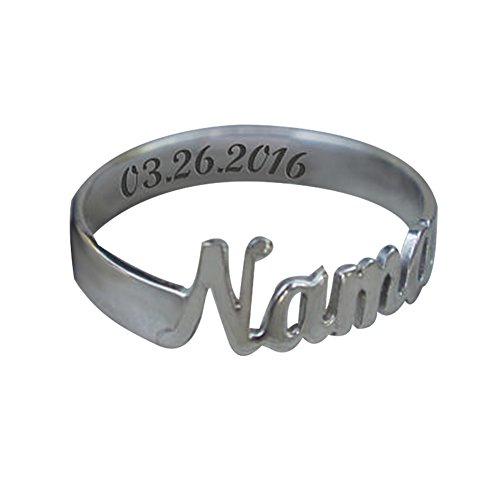 Ouslier 925 Sterling Silver Personalized Script Name Ring Custom Made with Any Name and Date (Silver) Sterling Silver Script Name Ring