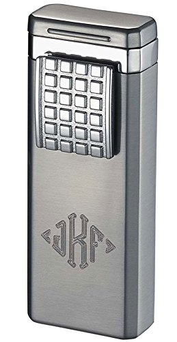 (Personalized Birati Satin Chrome Double Wind-Resistant Torch Flame Cigar Lighter Free Monogramming)