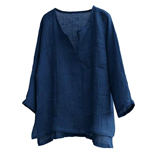 ♡Londony♡ Men's T-Shirt 100% Cotton Linen Hippie Shirt V-Neck Beach Yoga Top Casual Long Sleeve Solid Style Tee Blouse Navy
