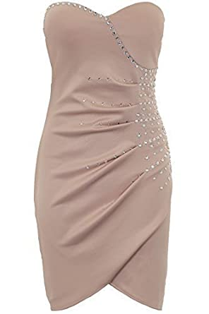 e76c2f3850 Ladies Padded Boobtube Bustier Gathered Jewelled Women s Bodycon Party Dress   Stone