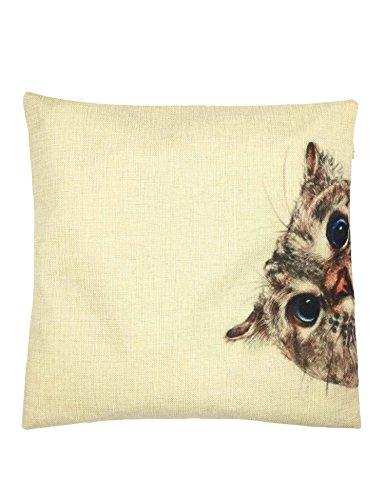YOUR SMILE Cat Cotton Linen Square Decorative Throw Pillow Case Cushion Cover 18x18 Inch(44CM44CM) (Cat Pillow)