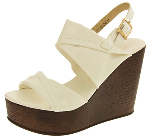 Footwear Studio Betsy Womens Platform Wedge Slingback Sandals White