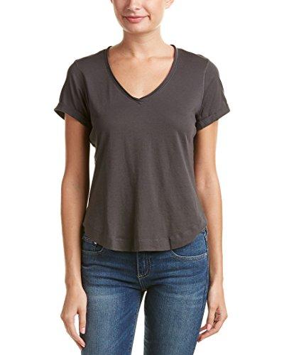Splendid Womens Rolled-Trim T-Shirt, XS, Grey