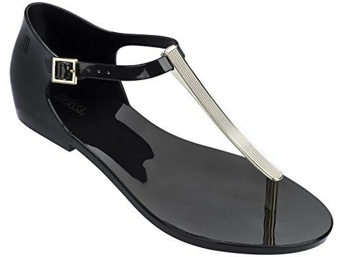 Melissa Women's Honey Chrome Sandals, Black, 8 B(M) US