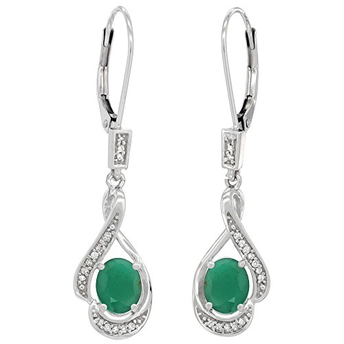 14K White Gold Diamond Natural Cabochon Emerald Leverback Earrings Oval 7x5mm, 1 7/16 inch long ()