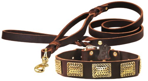 """Dean and Tyler Bundle – One """"Drum Roll"""" Collar 34-Inch by 1-1/2-Inch With One Matching """"Braidy Bunch"""" Leash, 5 FT Solid Brass Snap Hook – Brown"""