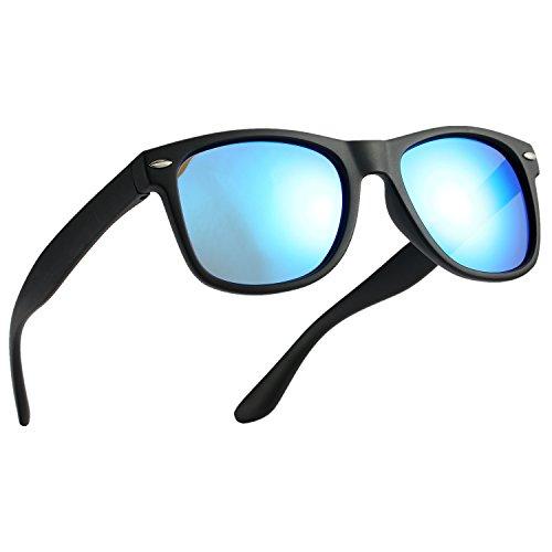 Pro Acme TPEE Rubber Flexible Polarized Wayfarer Sunglasses (Matte Black Frame/Blue Mirrored Lens/54) by Pro Acme