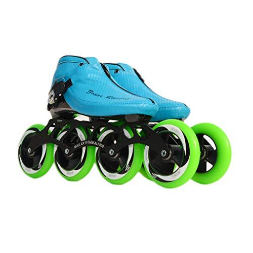 バレエあごペチュランスNUBAOgy インラインスケート、90-110ミリメートル直径の高弾性PU車輪、子供のための調整可能なインラインスケート、2色で利用可能 (色 : Green, サイズ さいず : 44)