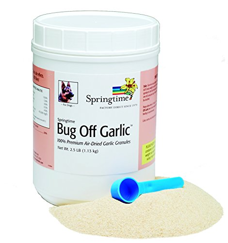 Springtime Bug Off Garlic Granules for Dogs – 2.5 lb – Air-dried garlic granules provide a safe and effective 24-hour shield against fleas, ticks, mosquitoes, gnats, flies, and other biting insects. Review