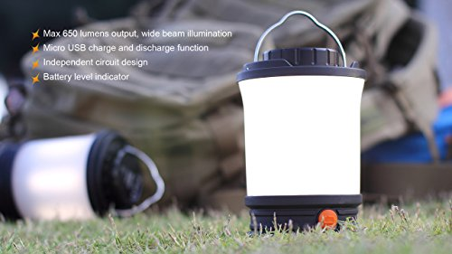 Fenix CL30R 650 lumen USB rechargeable camping lantern / work light, 6 X 18650 rechargeable batteries with Two back-up use EdisonBright CR123A Lithium Batteries long duration bundle by EdisonBright (Image #3)