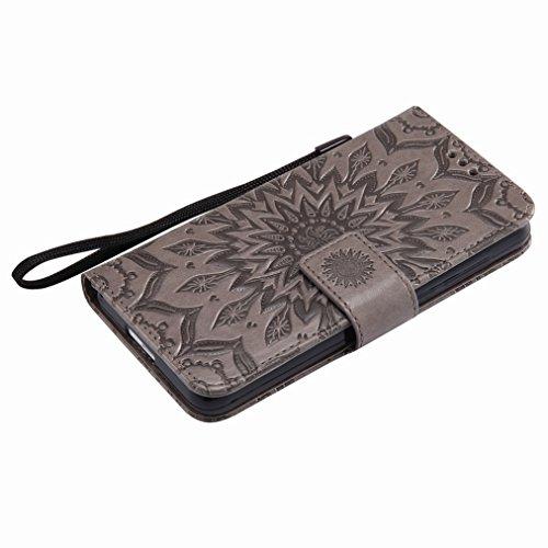 Yiizy Huawei Honor 6 Custodia Cover, Sole Petali Design Sottile Flip Portafoglio PU Pelle Cuoio Copertura Shell Case Slot Schede Cavalletto Stile Libro Bumper Protettivo Borsa (Grigio)