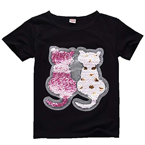 Girls Kids Cats Magic Sequins T-Shirts Black Crew Casual Tee Tops