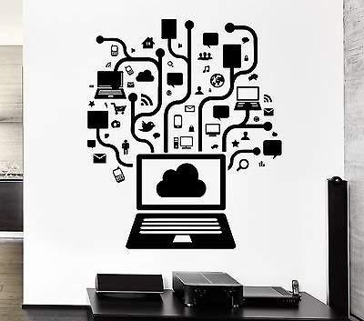 V-studios Wall Decal Computer Online Social Network Gamer Internet Teen PC Vinyl VS2558 (Computer Wall Decals)