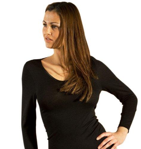 Hocosa Women's Long-Underwear Shirt, Long Sleeve, V-neck, Organic Wool-Silk, Black, s. 38/US 8