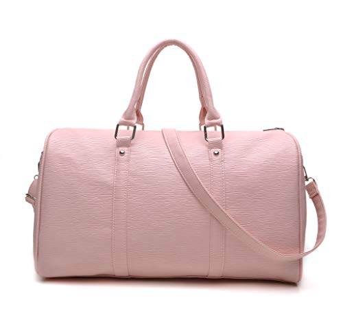 Weekend Bag Travel Duffle Bags Large Faux Leather Overnight Holdall Totes Handbags for Women Gym Sports and Hospital (Pink)