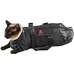 Top Performance Bolsa de Aseo para Gatos de Alto Rendimiento, Bolsas duraderas y versátiles diseñadas para Mantener a los Gatos Seguros Durante el Aseo y/o el baño, tamaño Mediano, Color Negro