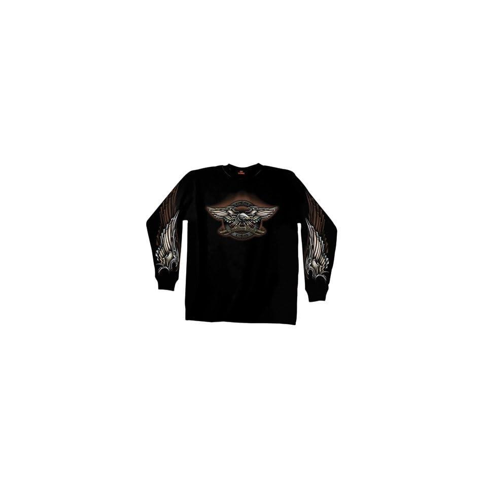 Hot Leathers Iron Eagle Long Sleeve T Shirt X Large Black
