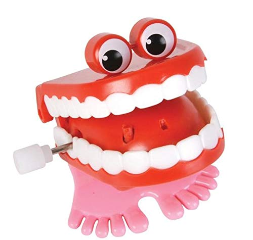 Rhode Island Novelty Chattering Chomping Wind Up Toy Walking Teeth With Eyes | Two Included |