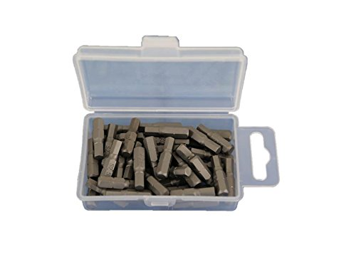 TEMO 50 pc H-5 Hex 13/64 inch (5mm) Impact Ready 1 inch (25mm) Long Screwdriver Insert Bits Hex Shank with quick release slot ()