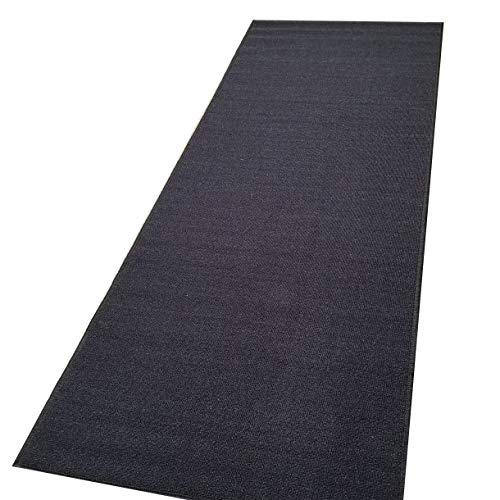 Custom Size Runner Black Solid Single Color Plain Non-Slip (Non-Skid) Rubber Back Stair Hallway Rug by Feet 22 Inch Wide Select Your Length
