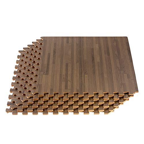 "Forest Floor 3/8"" Thick Printed Wood Grain Interlocking Foam Floor Mats, 200 Sq Ft (50 Tiles), Walnut"