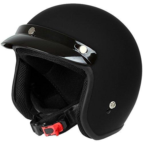 Mach1® Jethelm Motorradhelm schwarz Roller Scooter Helm Größe XS bis XXL mit abnehmbarem Schirm (Größe 63-64 cm XXL) (Schwarz-matt, 57-58cm (M))