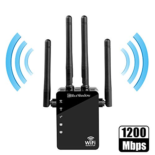WiFi Range Extender Repeater-5GHz & 2.4GHz Dual Band 1200Mbps WiFi Repeater Wireless Signal Booster, 360 Degree Full Coverage WiFi Extender Signal with AP/Repeater Mode(Black)