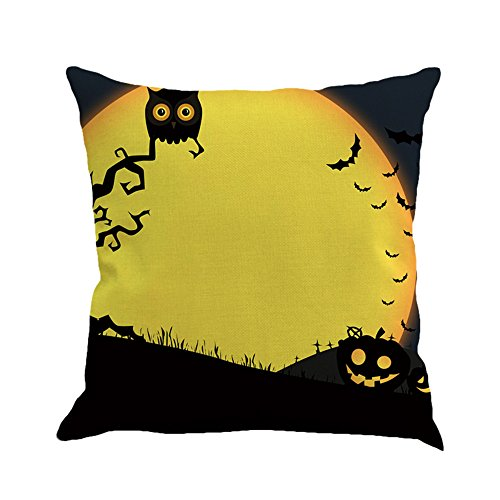 Napoo Happy Halloween Pillow Cases, 2017 Printed Flax Square Funny Pumpkin Castle Bat Owl Pattern Pillow Shams Sofa Throw Cushion Pillow Cover Cases 18x18 (C)]()
